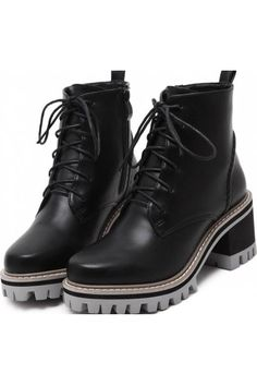 891caaa35 Black Leather Lace Up High Top Chunky Sole Punk Rock Military Combat Boots  Women Shoes