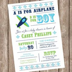 Airplane Baby Shower Invitation, Aviation Baby Shower, Aviation Invitation,  Plane Baby Shower Invitation