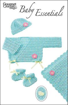 Baby Essentials Pattern GC43107 - This simple, sweet and soft newborn ensemble makes a beautiful gift. Choose a soft baby yarn in a favorite color for the kimono sacque, hat, booties and afghan. Add tiny flower or bird crochet appliqués for a special, understated touch. This pattern is suitable for beginning crocheters and features simple stitches and construction for easy crocheting and beautiful results.