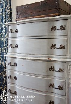 """Miss Mustard Seed's """"Shutter-Gray"""" milk paint, looks like the same color of Annie Sloan's Paris Grey I used on my desk."""