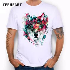 New 2016 Summer  Custom  lion/owl/wolf/tiger/cat  Design T Shirt Men's  watercolor  animal Graphics  print  Tops Hipster Tees