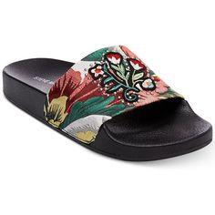 Steve Madden Patches Slide Sandals ($49) ❤ liked on Polyvore featuring shoes, sandals, black, embellished shoes, black slide sandals, leopard print shoes, black floral shoes and floral print sandals