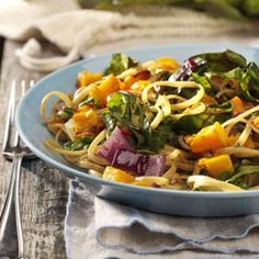 @Devin Michelle - Roasted Butternut Linguine - substitute spinach for Swiss chard, pepper flake optional - use chopped garlic...