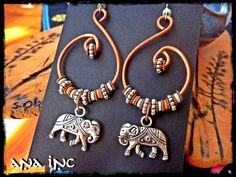 COPPER EARRINGS beaded Lucky Elephant Charms Bohemian earring Upcycled Earring Hand forged copper Spiral Earrings Dangle bead African Hippie