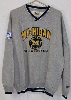 Michigan Wolverines Big Ten Mens Grey Embroidered Long Sleeve Sweatshirt Large L…