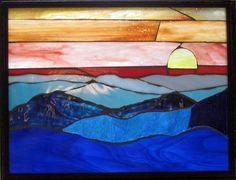 blue,mountain,moon,sunset,orange,sky,fullmoon,stars,night,glass,stained glass,miniature,mosaic