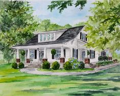Custom Watercolor Painting for House Warming, House Portrait with Watercolor, Custom House Painting for Anniversary Gift for Parents House Sketch, House Drawing, Watercolor Portraits, Watercolor Paintings, Watercolors, Anniversary Gifts For Parents, Anniversary Surprise, Earth Photos, House Illustration