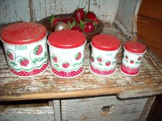 Antique Vintage Child Toy Canister Set Kitchen Tin Wolverine EBay