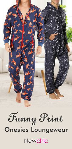 Men Funny Wolf Print Jumpsuit Loungewear Royal Blue Hooded Onesies With Pockets. Best Suits For Men, Cool Suits, Bare Men, Barefoot Men, Funny Outfits, Mens Fall, Printed Jumpsuit, Mens Fashion, Fashion Outfits