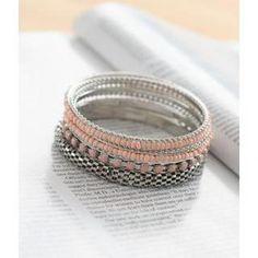 Set of Beaded Bangles One Size Black Diamond, Diamond Rings, Bangles, Wedding Rings, Engagement Rings, Jewelry, Women, Bracelets, Enagement Rings