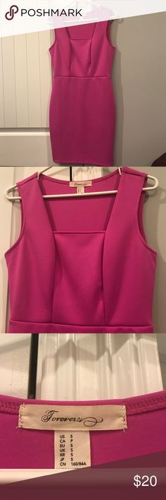 Hot Pink Semi-formal dress! Hot pink cocktail dress great for a semi-formal or formal event! Hugs your curves in all the right places. Forever 21. Size small. Worn only once! Forever 21 Dresses