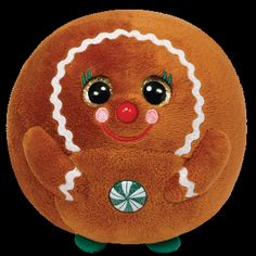 From the TY Beanie Baby Ballz collection. One of the Gingerbread style TY Beanies. Ty Beanie Ballz, Beanie Buddies, Kids Toy Store, New Kids Toys, Christmas Beanie Boos, Big Eyed Stuffed Animals, Ty Beanie Boos Collection, Ty Peluche, Ty Animals