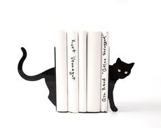 Decorative Bookends - Cat and books - functional decor modern home // decorative bookends for cat lover // book lover //  FREE SHIPPING