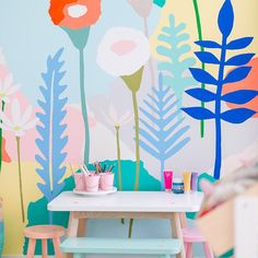 Cute Colorful Wallpaper Design Ideas For Kids Room - Mural Painting, Mural Art, Kids Wall Murals, Paintings, Garden Mural, Colorful Playroom, School Murals, Kids Decor, Home Decor