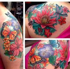 Colourful flower and butterfly tattoo on arm , shoulder and back. Butterfly , bee , dragonfly , ladybug, water lily , hibiscus , Hawaii tattoo.