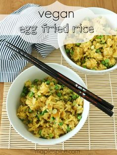 """Vegan """"egg"""" fried rice - sounds scrumptious, though I'd probably top it with a fried egg. Delicious Vegan Recipes, Vegetarian Recipes, Healthy Recipes, Tasty, Vegan Fried Rice, Vegan Egg, Vegan Food, Vegan Main Dishes, Vegan Kitchen"""