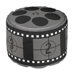 Movie Film Reel Round Pouf