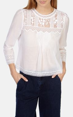 Buy Karen Millen Pretty Vintage Blouse, White from our Women's Shirts & Tops range at John Lewis & Partners. Mode Chic, Mode Style, Blouse Styles, Blouse Designs, Karen Millen, Mode Top, Beautiful Blouses, Blouse Vintage, Personalized T Shirts