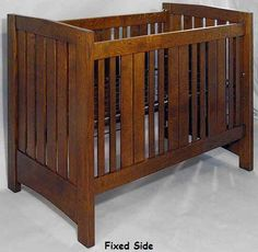 Mission Crib fixed side Wooden Baby Crib, Baby Crib Designs, Baby Furniture, Craftsman Style, Baby Cribs, Nursery Ideas, Storage, Diy, House
