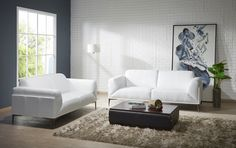 Manhattan contemporary white leather sofa set. Clean lines and a stylish minimalist design are the trademarks of the fabulous modern white leather sofa set. The set is made from hardwood frame construction and white top grain leather that feels incredibly sofa and smooth to the touch. Seat and back ...