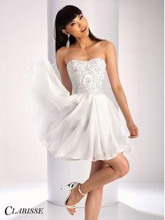 Clarisse Short Strapless Chiffon Dress 3214. Short prom dress, homecoming dress, 8th grade dance dress, white graduation dress. | Promgirl.net