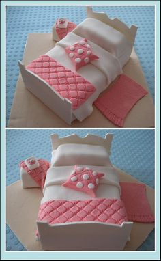 cake bed with fondant Unique Cakes, Creative Cakes, Fancy Cakes, Cute Cakes, Fondant Cakes, Cupcake Cakes, Decors Pate A Sucre, Bed Cake, Birthday Cake Girls