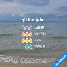 At The Lake - Essential Oil Diffuser Blend Recipe: 3 drops Lavender, 3 drops Grapefruit, 3 drops Lemon, 2 drops Spearmint