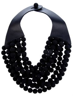 Black necklace with leather