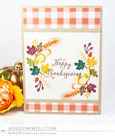 Happy Thanksgiving Card by Ashley Cannon Newell for Papertrey Ink (August 2016)