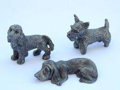 Lot Of 3 Miniature Dogs/Dog Figure Figurine Silver plated Vintage Antique Statue
