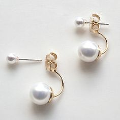 Double Pearl Earrings With Sterling Silver Post - earrings