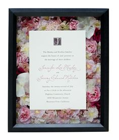 Wedding invitation shadow box - cute present for newly engaged/married friends