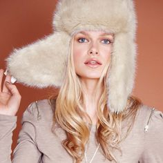 Cream fur flap hat