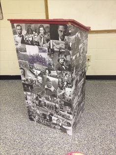 Podium that I decoupaged for my husband's high school history classroom.