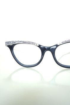 119d2e07b7cb7 1960s Cat Eye Glasses Silver Black Metallic Rockabilly Floral 60s Sixties  Cateye Frames Mid Century Geek Chic Nerdy Liberty Made in the USA