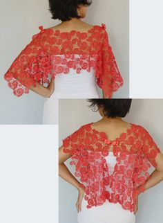 This lace stole is made of carmine red cotton guipure lace fabric. Its accented with grosgrain satin ribbon bows on the shoulders. Thanks to this modern bridal shrug, my unique design, you can create your own style as a complementary accessory having such a modern, minimal yet rich look. Rectangular shaped, gives an air romantic and shabby chic. Dim. 22.4 x 37.0 (57x94cm). One size (S -L) Similar items in lighter colors (white, ivory, cream etc) are available in my other bridal Etsy Shop…