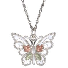 Black Hills Gold Butterfly Pendant in Sterling Silver