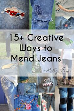 Diy Sewing Projects Creative Jeans Mending Tutorials - sewing inspiration roundup from Melly Sews - diy fashion fixes - Creative ways to mend jeans - some of these are really pretty! Sewing Jeans, Sewing Clothes, Diy Clothes, Do It Yourself Jeans, Do It Yourself Fashion, Diy Sewing Projects, Sewing Tutorials, Sewing Patterns, Sewing Tips