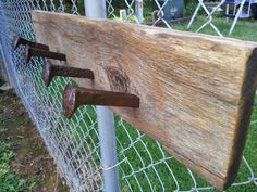 Railroad Spike, Barn Wood, Wall Mount Coat Rack