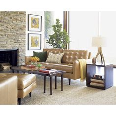Petrie Leather Apartment Sofa in Sofas | Crate and Barrel