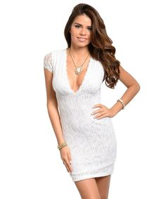 Details about Sexy Off White V-neck Lined w slip BI new Lace Crochet like cleavage Dress Club White Lace Mini Dress, Short Lace Dress, Glam Dresses, Sun Dresses, Going Out Dresses, White V Necks, Stretch Dress, Lace Sleeves, Tribal Clothing