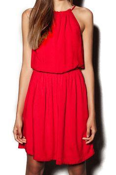 74b63bdf239 abaday Elastic Sleeveless Sheer Pleated Red Halting Dress - Fashion Clothing