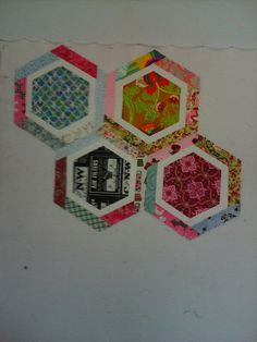 """My #""""y"""" seams. Not bad for 1st attempt on my #hexagon #quilt. Just a few more to go."""