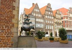 Sculpture of the Bremen Town Musicians at the Bremen Town Hall, Bremen, Germany [V04-659050] > Stock Photos | Royalty Free | Royalty Free Photos > Visualphotos.com