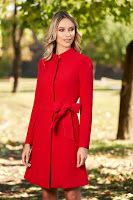 Artista red elegant cloche coat with inside lining accessorized with tied waistband with bow Product Label, Size Clothing, Avatar, Curvy, Cold Shoulder Dress, High Neck Dress, Satin, Elegant, Long Sleeve