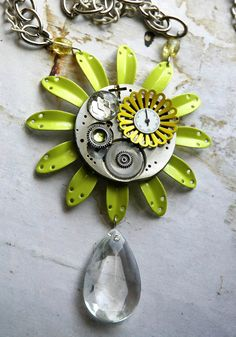 Steampunk Necklace  Steampunk Neon Vintage Enamel by bionicunicorn, $75.00  love the lime green and grey together in this necklace. Hot hot hot!