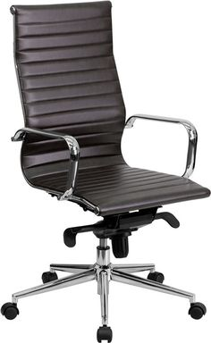 High Back Brown Ribbed Upholstered Executive Office Chair   Office   Contemporary Furniture Warehouse