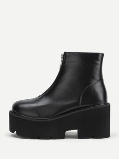 Zipper Front Platform PU Ankle BootsFor Women-romwe