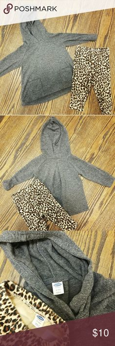 Hooded tunic with leggings Your baby girl will rock this stylish outfit! The charcoal grey hooded tunic is super soft, falls to the top of the thigh, has a pleat detail in the back, and adorable pockets on the front! The matching leopard print leggings really take the outfit up a notch. This outfit has only been worn twice and is in excellent condition! Old Navy Matching Sets