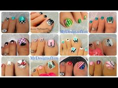 Compilation By My French Manicure Designs: In this video I show you several French nail art designs of my favorite ones. Toenail Art Designs, Simple Nail Art Designs, Best Nail Art Designs, Simple Toe Nails, Summer Toe Nails, New Nail Art, Nail Art Diy, Toothpick Nail Art, Pedicure Nail Art